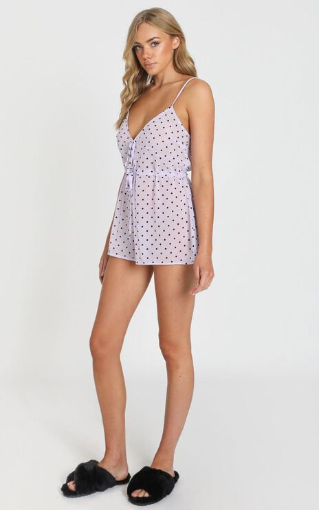Shadow Of Us Romper in Lilac Spot