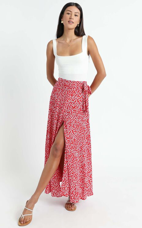 Break A Leg Maxi Skirt In Red Floral
