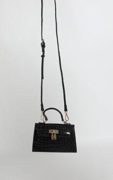 Peta And Jain - Hedi Mini Top Handle Bag In Black Croc