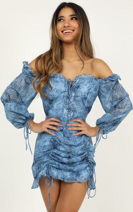 Lioness - Feng Shui Dress In Blue Print