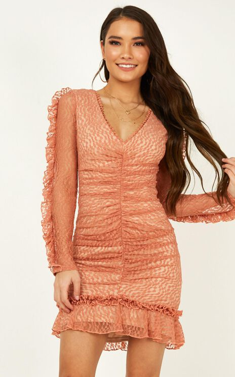 Speak To Us Dress in Peach Lace