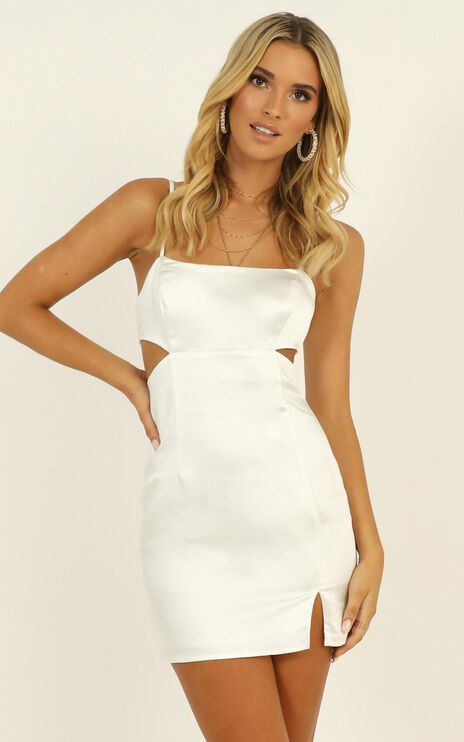 Talking Pretty Dress In White Satin