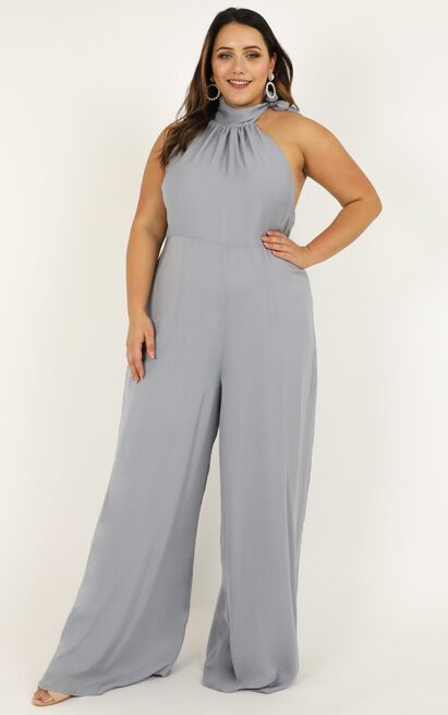 Leaves Falling Jumpsuit in dove blue satin - 20 (XXXXL), Blue, hi-res image number null