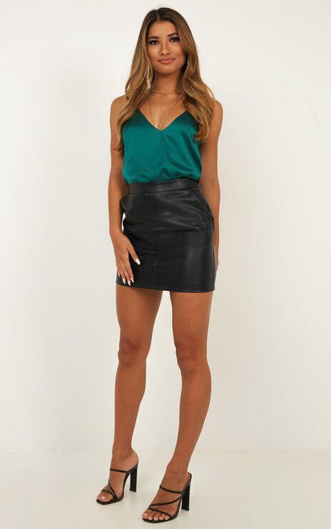 Take Precaution Leatherette Skirt In Black