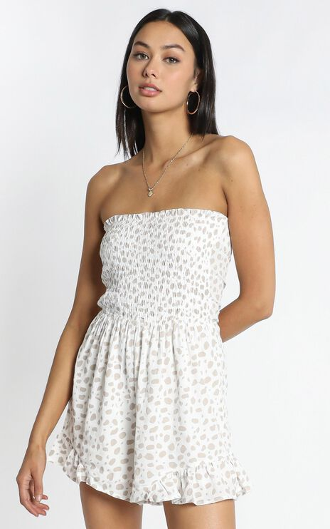 Leo Playsuit in White Spot