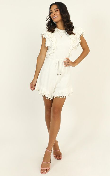 Dream All Day Ruffle Playsuit In White