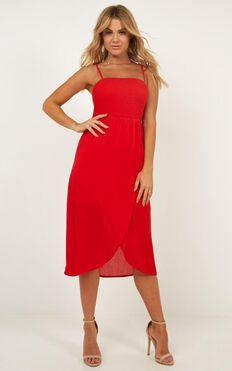 Swinging Days Dress In Red