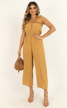 Spoken Words Jumpsuit In Mustard