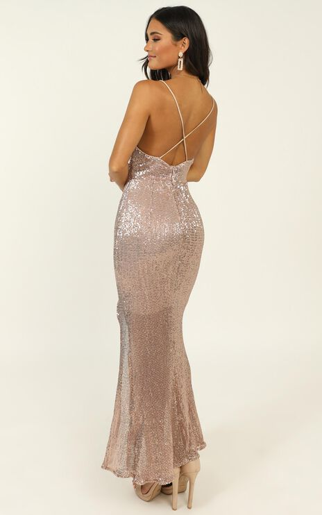 Stop And Stare Dress In Gold Sequin