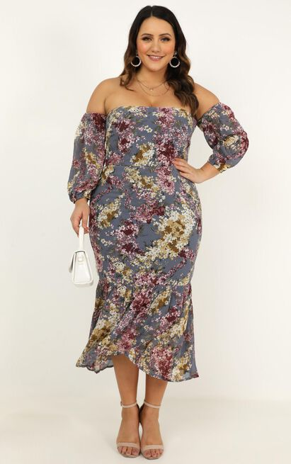 Forever you and me dress in purple floral - 14 (XL), Purple, hi-res image number null