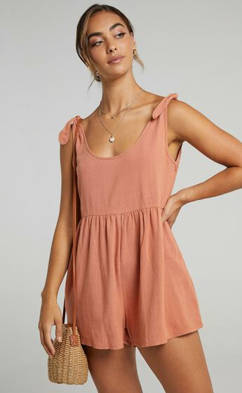 Bring This Down Playsuit in Dusty Rose
