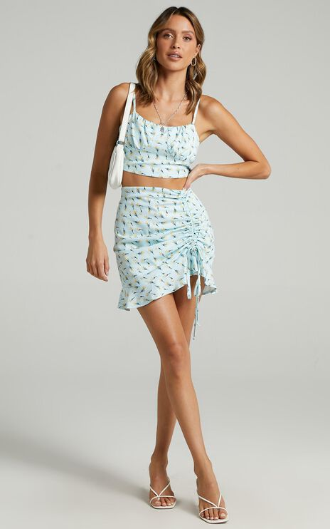 Iva Two Piece Set in Blue Floral