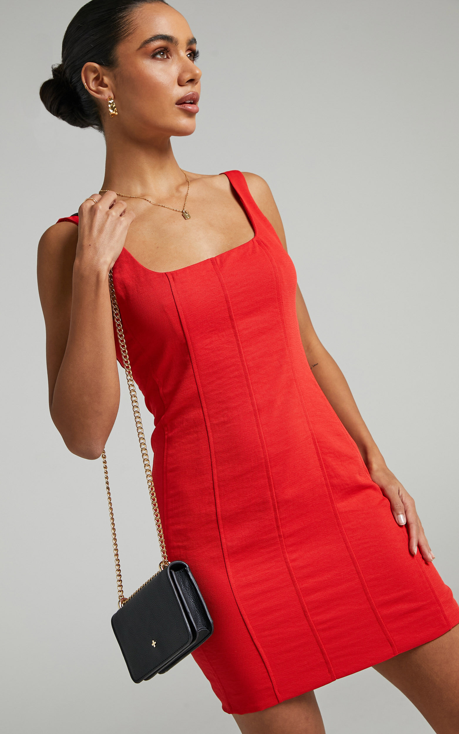 Charley Bustier Mini Dress with Panelling in Oxy Red - 06, RED2, super-hi-res image number null