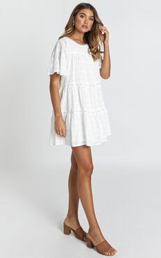 Oceana Tiered Smock Dress In White