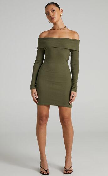 Barker Off-Shoulder Mini Dress in Khaki