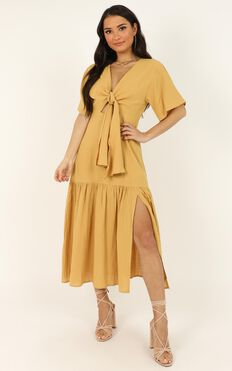 Main Attraction Dress In Mustard