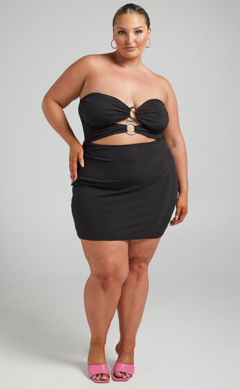 Assyria Ring Centre Cut Out Strapless Mini Dress in Black