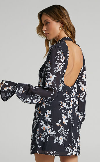 Arlowe High Neck Open Back Mini Dress in Black Floral