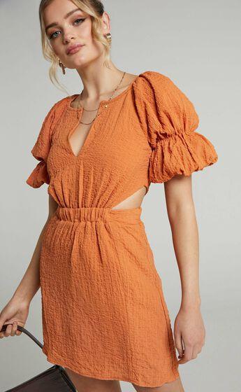 Robina Puff Sleeve Cut Out Mini Dress in Burnt Orange
