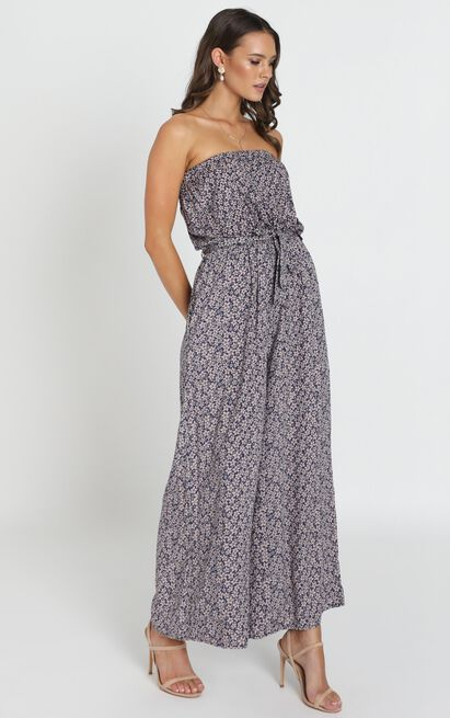 Eloise Strapless Jumpsuit in navy floral - 14 (XL), Navy, hi-res image number null