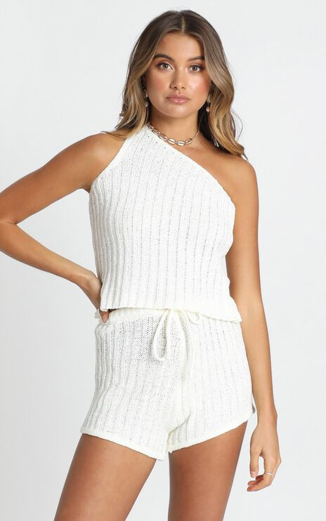 Wasted Times Two Piece Set In White