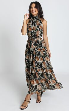 Cooling Power Maxi Dress In Black Floral