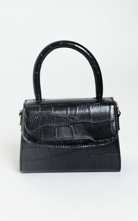 Halfway There bag in black croc