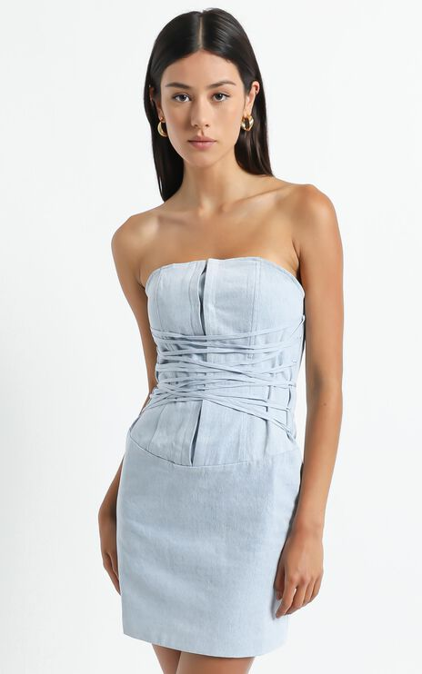 Lioness - Untie Me Mini Dress in Light Blue