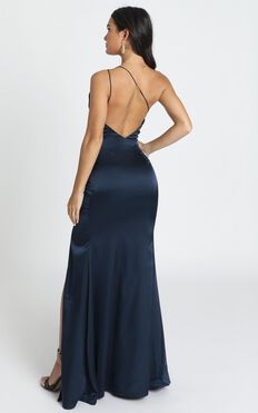 Since I Saw You Maxi Dress In Navy Satin