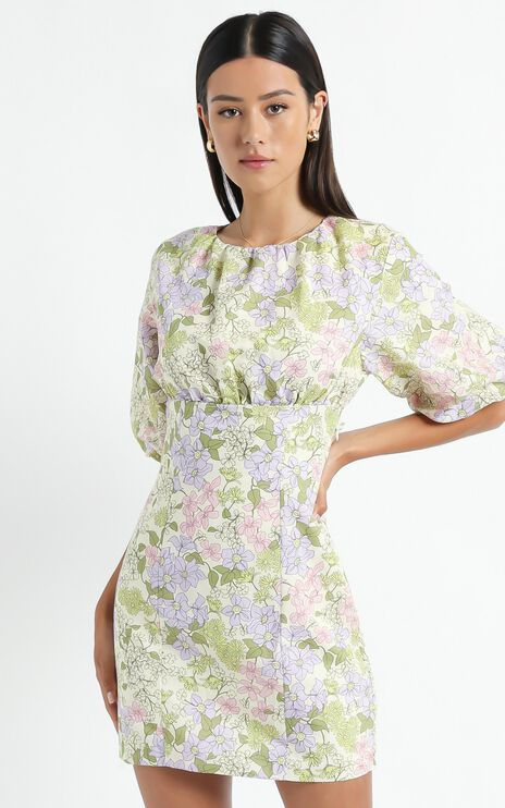 Keryth Dress in Garden Floral Linen Look