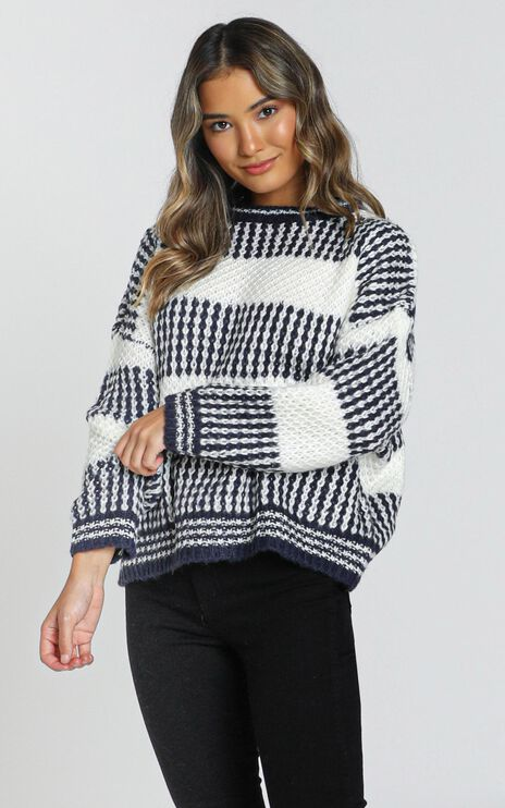 Snuggle Up Knit Jumper in Navy Stripe