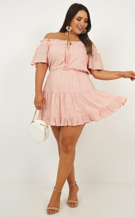 Wish Me Lucky Dress In Blush Stripe