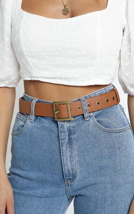 Stay Cool Belt in Tan/Gold
