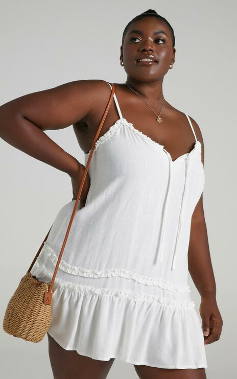 Olinda Dress in White Linen Look
