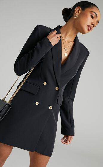 Carina Long Sleeve Blazer Dress in Black