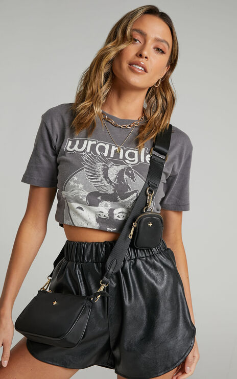 Shanae Shorts in Black Leatherette