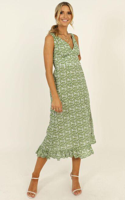 Last Survivor Dress in green floral - 14 (XL), Green, hi-res image number null