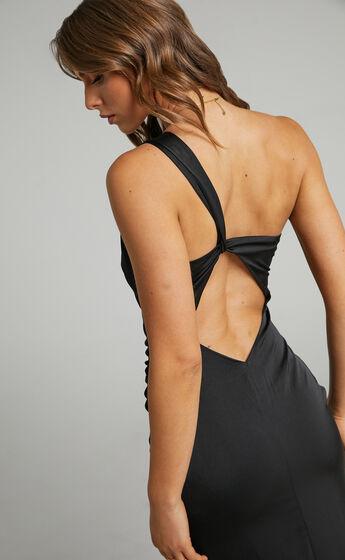 Victoire One Shoulder Maxi Dress in Black Satin