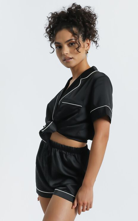 Sleep All Day Shorts in Black Satin