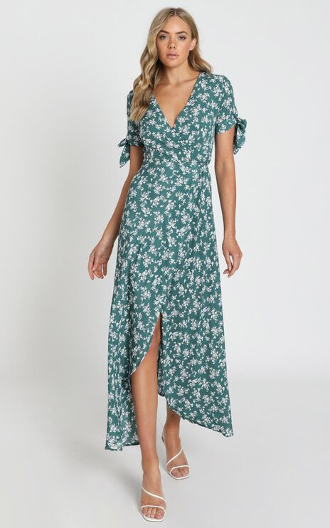 Picking It Up Maxi Wrap Dress In Teal Floral