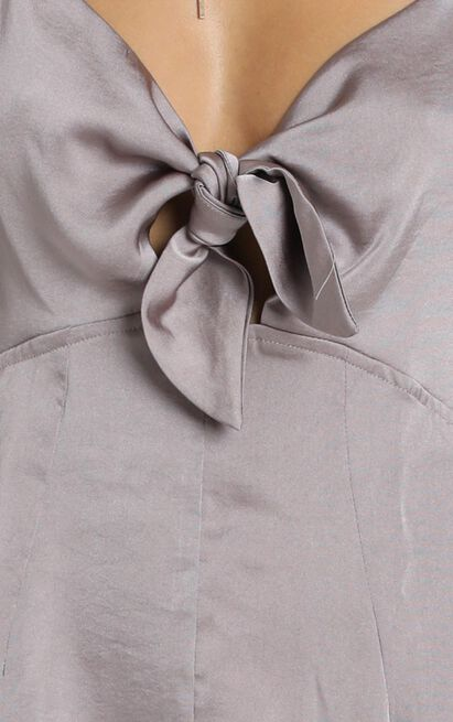 Carlee Playsuit in grey satin - 12 (L), Grey, hi-res image number null
