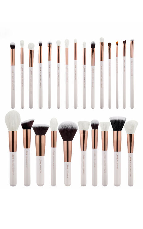 Makeup brush set in white and rose gold - 25 pc
