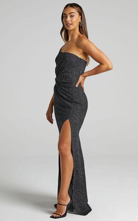 Gwen One Shoulder Maxi Dress in Black Sparkle