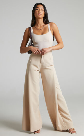 Parthena High Waisted Wide Leg Pant in Cream