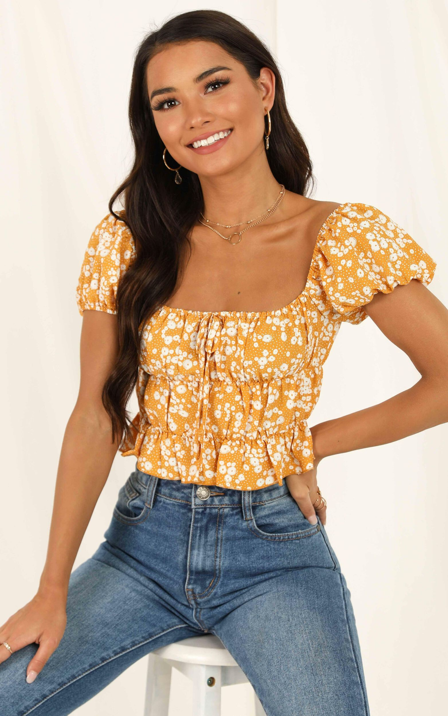 Gimme Top in Yellow Floral - 12, YEL6, super-hi-res image number null
