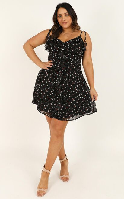 No Time To Wait Dress in black floral - 20 (XXXXL), Black, hi-res image number null