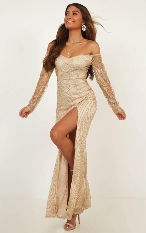Lucid Dreams Maxi Dress In Gold Glitter