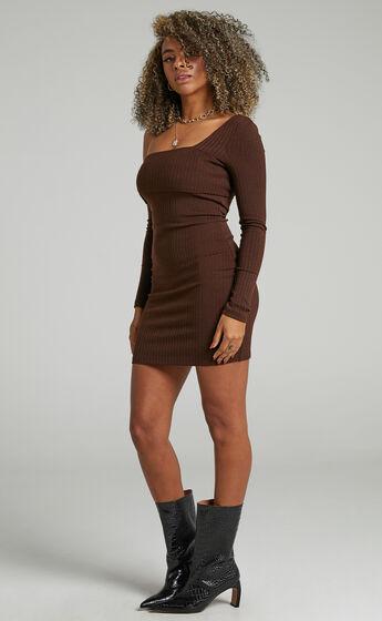 Hyden Assymmetrical Neckline with Long Sleeve Mini Dress in Chocolate