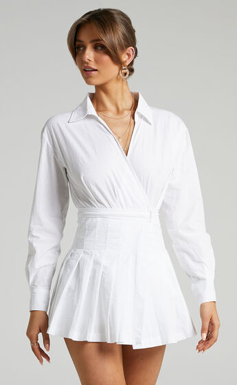 Pamella Tennis Skirt Playsuit in White