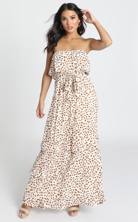 Candice Dress In Tan Spot